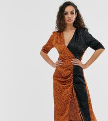 Присборенное платье миди с комбинированным леопардовым принтом -Мульти Outrageous Fortune 8811662
