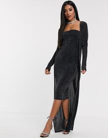 Блестящее платье миди и кардиган макси -Черный ASOS DESIGN 9106685