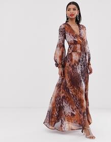 Платье макси с комбинированным анималистичным принтом -Мульти ASOS DESIGN 8441121