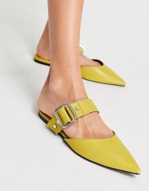 Мюли-сабо цвета шартрёз с острым носком и пряжкой Loft-Желтый ASOS DESIGN 11293354