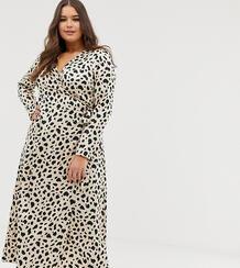 Платье макси с запахом и леопардовым принтом ASOS DESIGN Curve-Мульти Asos Curve 8202528