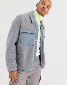 Серая куртка из искусственного меха с карманами -Серый ASOS DESIGN 8575087