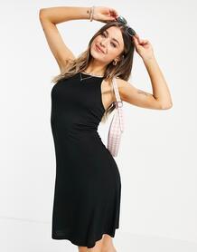 Черное платье миди с присборенной юбкой и асимметричным нижним краем Marion-Черный Pieces 11570169