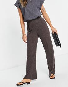 Широкие трикотажные брюки темно-коричневого цвета с завышенной талией Kaylee-Коричневый цвет Only 11750992