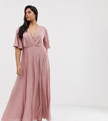 Платье-кимоно макси с плиссировкой ASOS DESIGN Curve-Розовый Asos Curve 8292642