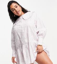 Пастельное платье мини свободного кроя с воротником, пышной юбкой и принтом «зебра» -Фиолетовый цвет Neon Rose Plus 11556081
