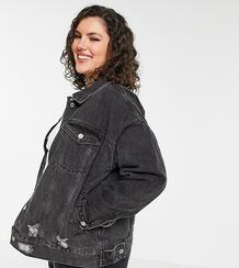 Черная джинсовая oversized-куртка с рваной отделкой -Черный цвет Missguided Plus 11576871