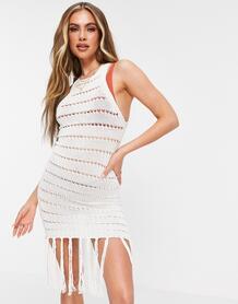 Платье кремового цвета вязки «кроше» с кисточками -Белый MISSGUIDED 11537533