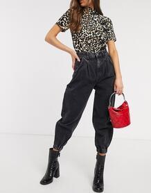 Черные свободные джинсы с манжетами -Черный Bershka 9657177