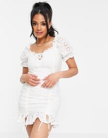 Белое платье мини с вышивкой ришелье и сборками спереди -Белый Parisian 11257081