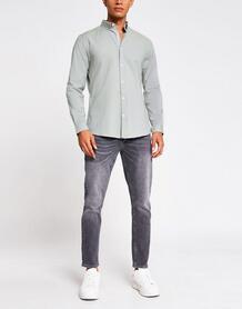 Оксфордская рубашка цвета хаки с длинными рукавами -Зеленый цвет River Island 10351002