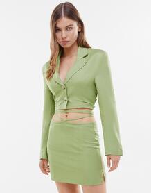 Классическая льняная юбка цвета хаки (от комплекта) -Зеленый цвет Bershka 11882915