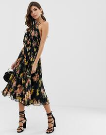 Плиссированное платье миди с цветочным принтом и лямкой через шею -Мульти ASOS DESIGN 7836175