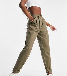 Широкие зауженные книзу брюки оливкового цвета со складками спереди ASOS DESIGN Tall-Зеленый цвет Asos Tall 11222909