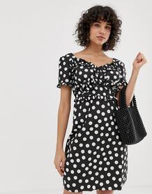 Платье в горошек с оборками -Черный Lost Ink 7289779