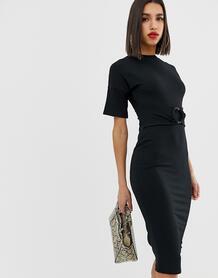 Платье миди в рубчик с кольцом -Черный ASOS DESIGN 7934372