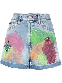 джинсовые шорты в стиле колор-блок PHILIPP PLEIN 161909355054