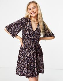 Темно-синее свободное платье мини с цветочным принтом -Темно-синий ASOS DESIGN 11024879