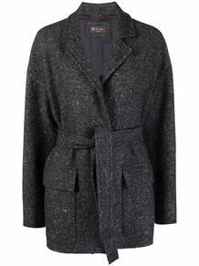 однобортное пальто с поясом Loro Piana 1666691377