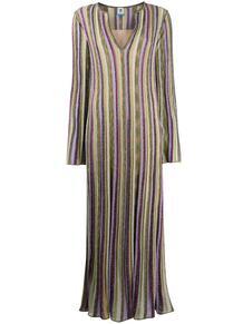 трикотажное платье в полоску с V-образным вырезом M Missoni 157083715248