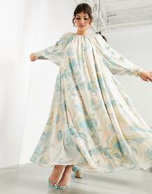 Платье миди с низким вырезом на спине и мраморным принтом -Многоцветный ASOS Edition 11664427