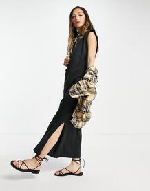 Выбеленное черное платье миди из хлопкового трикотажа с подплечниками и разрезами по бокам -Черный Only 11774963