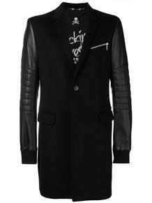 пальто с кожаными рукавами PHILIPP PLEIN 132293195352