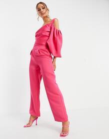 Ярко-розовые классические брюки от комплекта -Розовый цвет Yaura 11487399