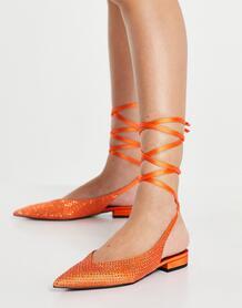 Оранжевые атласные балетки с острым носком и завязкой на ноге Lucent-Оранжевый цвет ASOS DESIGN 11293484