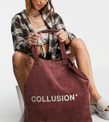 Коричневая махровая сумка-тоут -Коричневый цвет Collusion 11538802