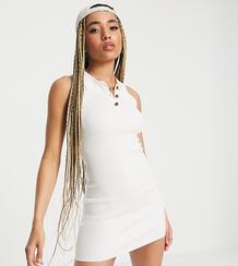 Белое платье мини в рубчик с воротником на пуговицах -Белый MISSGUIDED 11577673