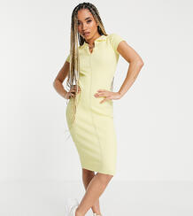 Платье миди лимонного цвета в рубчик с воротником -Желтый MISSGUIDED 11540603