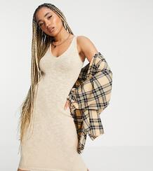 Бежевое платье мидакси из фактурного трикотажа -Светло-бежевый MISSGUIDED 11540652
