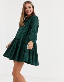 Ярусное платье-трапеция мини с вышивкой ришелье -Зеленый ASOS DESIGN 9057968