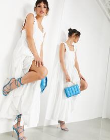 Белое многоярусное платье-трапеция миди с оборками на ремешках -Белый ASOS Edition 11458333