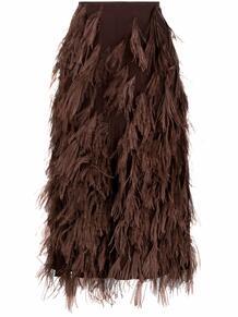 юбка миди с перьями Salvatore Ferragamo 167957135248