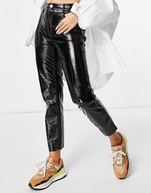 Черные виниловые брюки с завышенной талией Emily-Черный цвет Only 11750971
