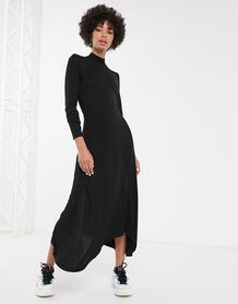 Черное платье-трапеция миди с высоким воротником -Черный Monki 9367439