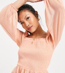 Присборенная блузка розового цвета -Розовый цвет Miss Selfridge Petite 101958504