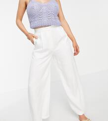 Белые выбеленные льняные брюки сширокими штанинами ASOS DESIGN Petite-Белый Asos Petite 10871003