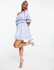 Голубое платье мини со спущенными плечами и отделкой рюшами -Голубой Parisian 11257219