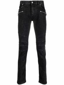 джинсы с нашивкой-логотипом и молниями BALMAIN 163080995155