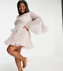 Расклешенное платье мини с декоративной отделкой и рукавами клеш ASOS DESIGN Curve-Розовый цвет Asos Curve 9986157