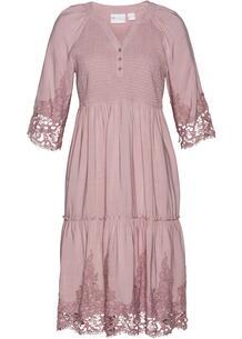 Платье-рубашка из вискозы с кружевом bonprix 267338678
