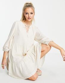 Бежевое платье мини Femme-Белый SELECTED 11838396