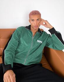 Зеленая спортивная куртка из махровой ткани с полосками по бокам и кантом (от комплекта) -Зеленый цвет Mennace 11803897