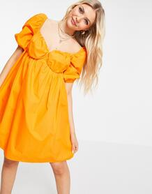 Оранжевое платье трапециевидного кроя с пышными рукавами -Оранжевый цвет Pimkie 11883126