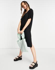 Черное платье-футболка миди с V-образным вырезом и разрезами по бокам -Черный цвет Pieces 11705780