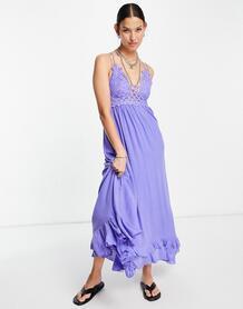 Синее платье-комбинация макси -Голубой Free People 12079752