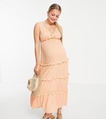 Персиковое ярусное платье макси из жатой ткани без рукавов с кружевными вставками ASOS DESIGN Maternity-Розовый цвет Asos Maternity 9813075